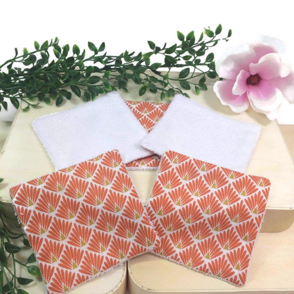 lingettes, coton lavables, lot de 5 motif japonais paon orange