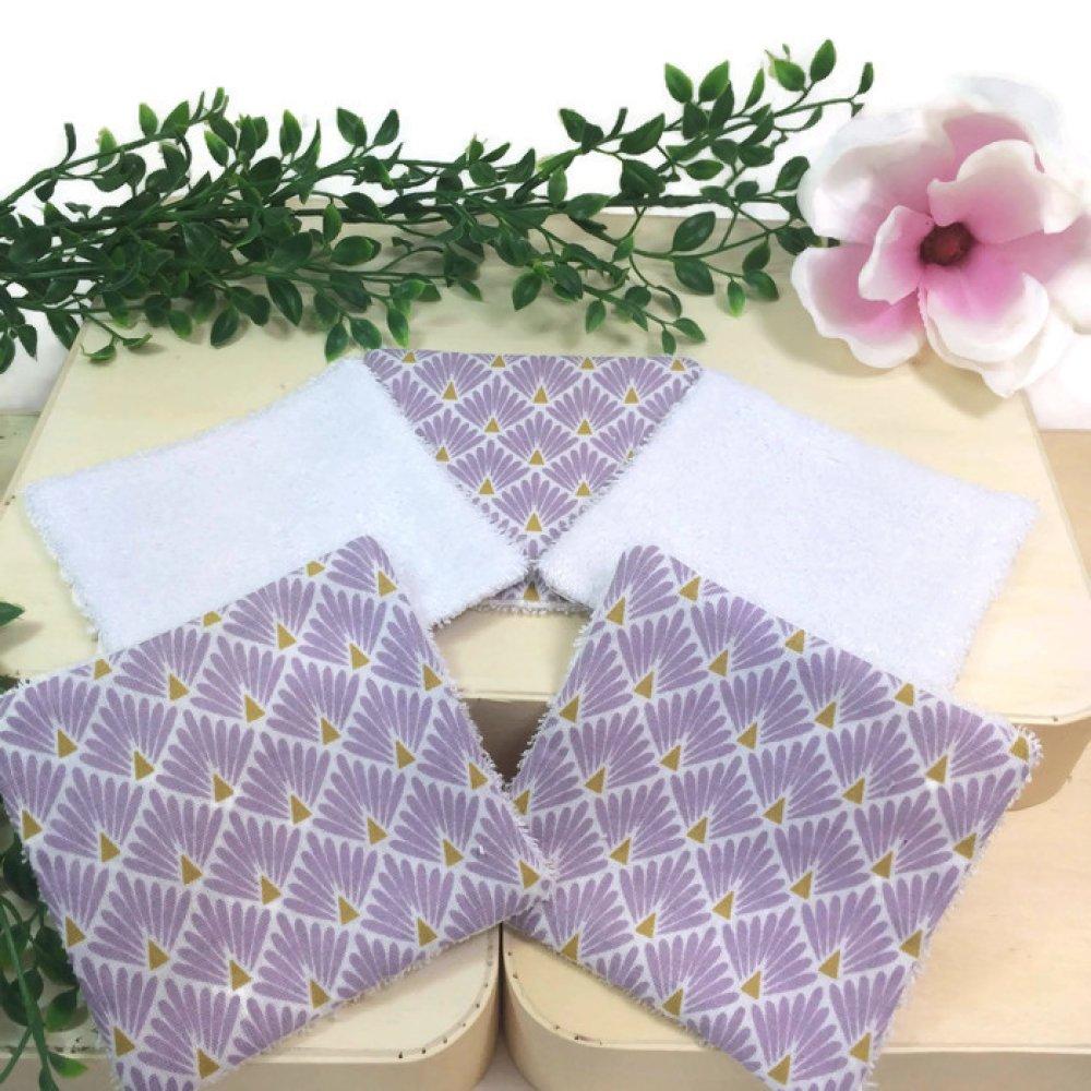 lingettes, coton lavables, lot de 5 motif japonais paon mauve
