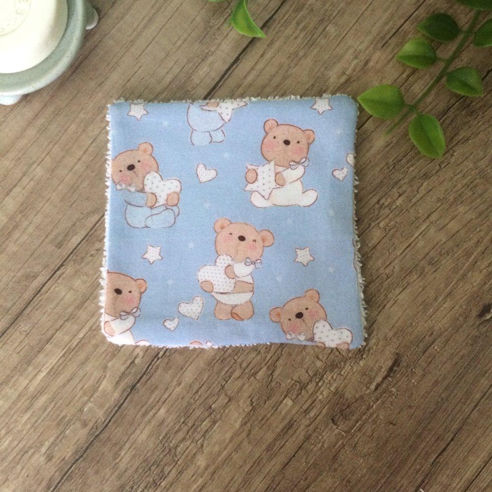 lingettes démaquillantes lavables en bambou ourson bleu
