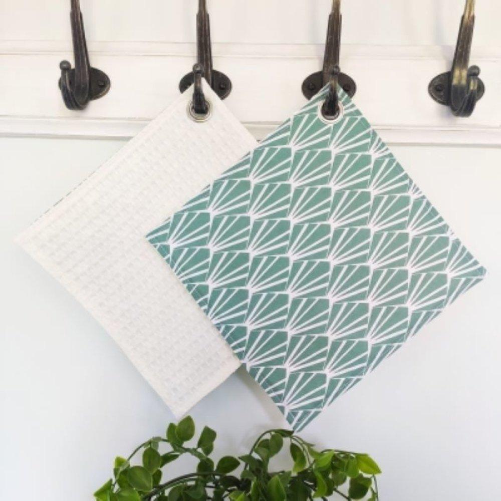 essuie tout lavable art déco vert menthe
