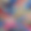 Coupon tissu japonais 20 x 25 cm fleurs éventail rose rouge or - fond bleu clair