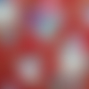Coupon tissu japonais  20 x 25 cm - pivoines - rouge