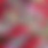 Coupon tissu japonais 20 x 25 cm fleurs éventail rose rouge or - fond rouge