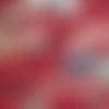 Coupon tissu japonais 20 x 25 cm carpes koï - blanc - bleu - rouge foncé