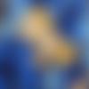 Coupon tissu japonais 20 x 25 cm dragons - fond bleu