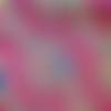 Tissu wax africain - coupé par 30 cm - rouge jaune bleu indigo - motif végétal #03