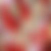 Coupon tissu japonais 45 x 55 cm fat quarter fleurs éventail rose rouge or fond rouge