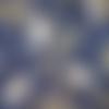 Coupon tissu japonais 45 x 55 cm fat quarter oiseaux grues blanc bleu or bleu indigo