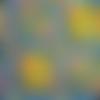 Tissu wax africain - coupé par 30 cm bleu moyen jaune rouge motifs géométriques #01