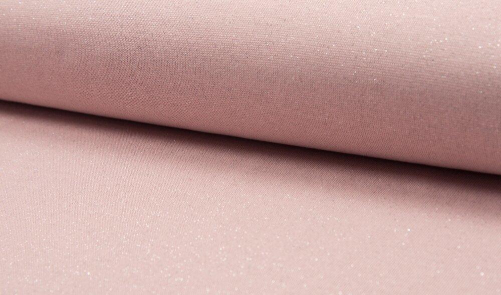 Bord côte ROSE  AVEC LUREX  coupon de 50 cm de tissu jersey pour la couture
