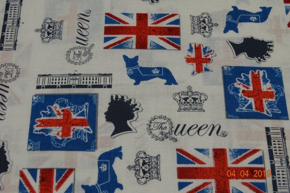 tissu coton motif anglais fond blanc vendu au mètre