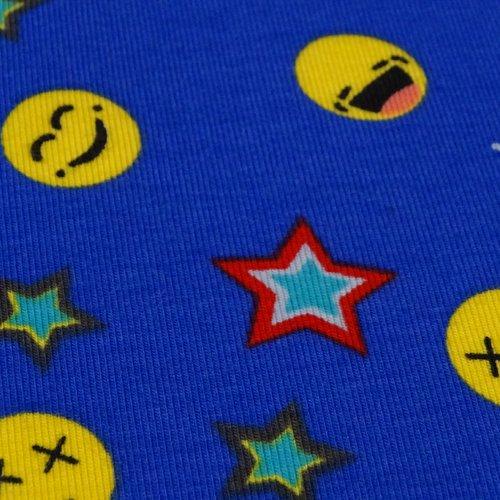 Tissu jersey de coton enfant motif d'emoji fond bleu  vendu au demi mètre