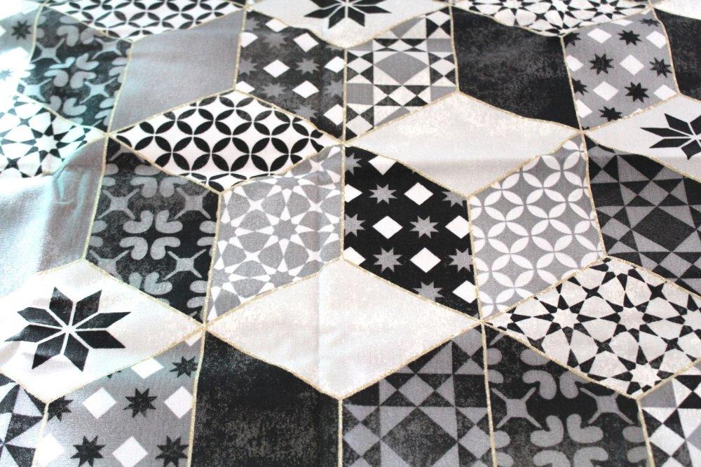 Coupon tissu ameublement gris et noir  70x50 cm