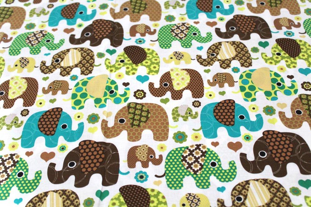 Coupon tissu enfant  50x70 cm éléphants