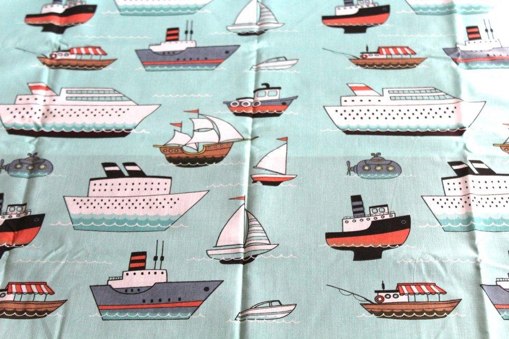 Coupon tissu  50x70 cm bateaux