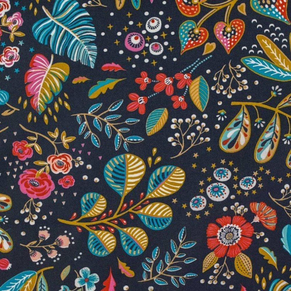 Coupon tissu  50x70 cm fleurs multicolores