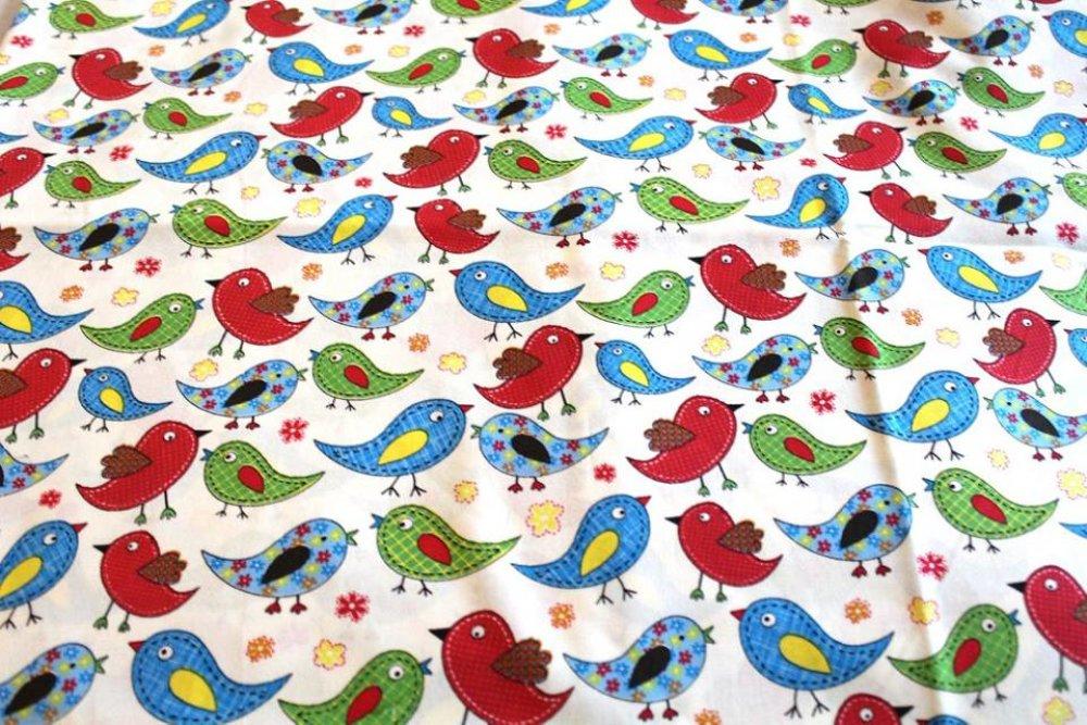 Coupon tissu  50x55cm imprimé oiseaux