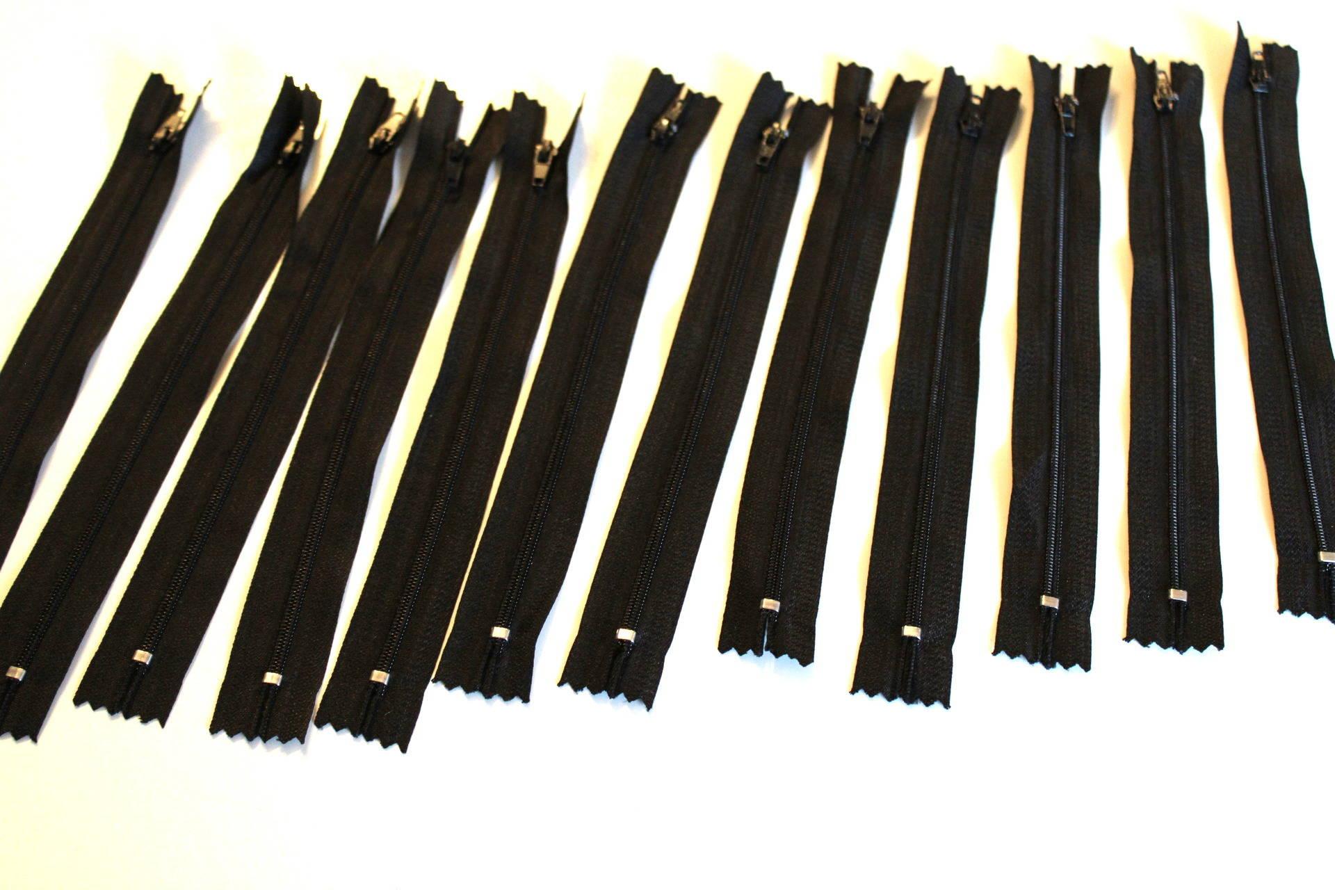 Lot de 12 fermetures éclair 20cm noires