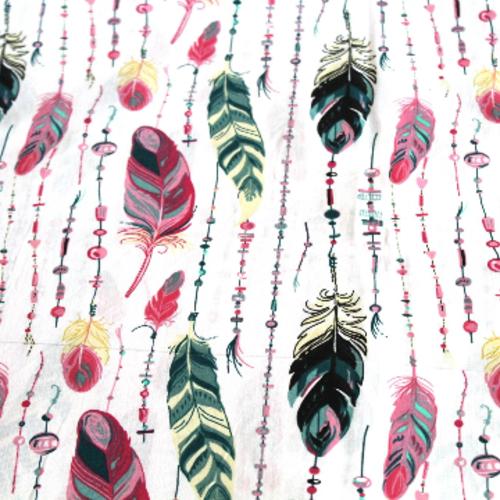 Coupon tissu   50x70 cm plumes vertes et roses