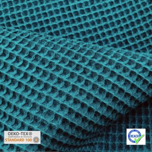 Tissu nid d'abeille - bleu paon