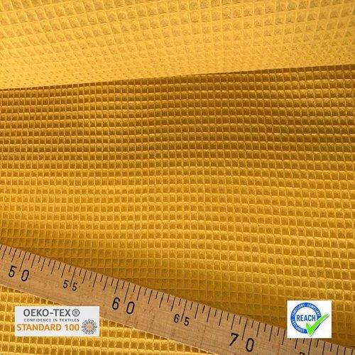 Tissu nid d'abeille - moutarde
