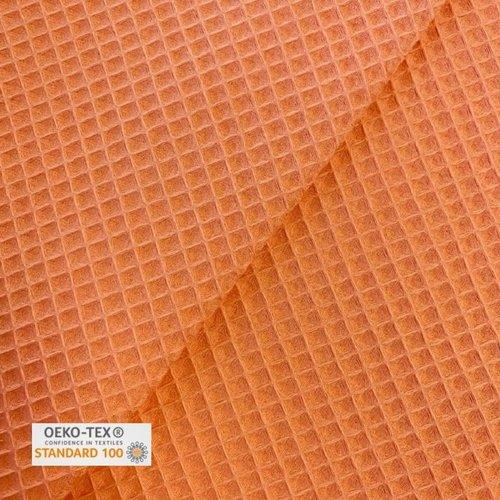 Tissu nid d'abeille - papaye