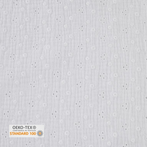 Tissu double gaze brodee - blanc