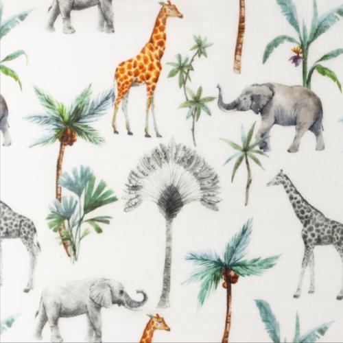 Tissu double gaze imprimée bio - girafe