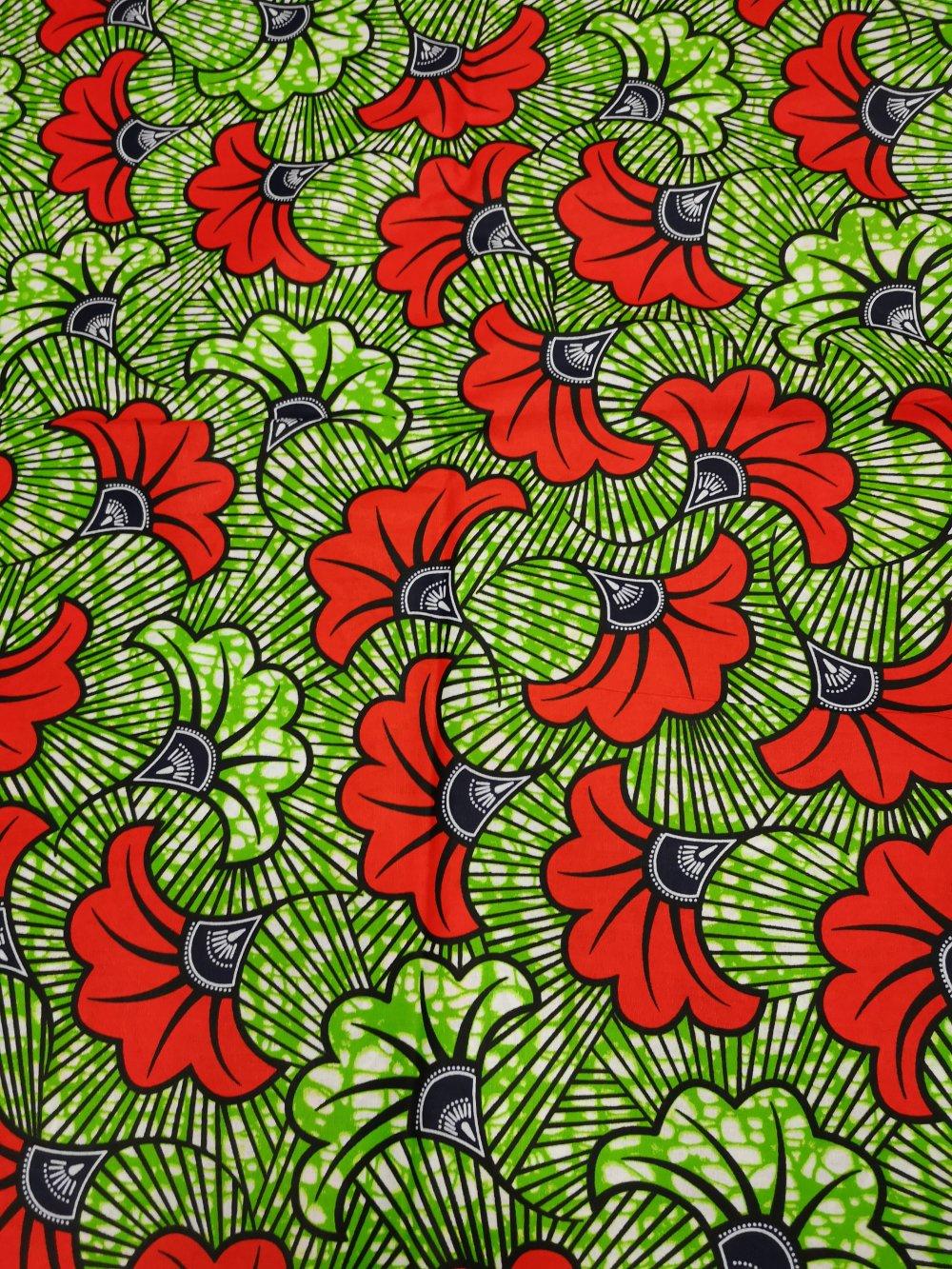 tissu wax fleur de mariage vert et rouge