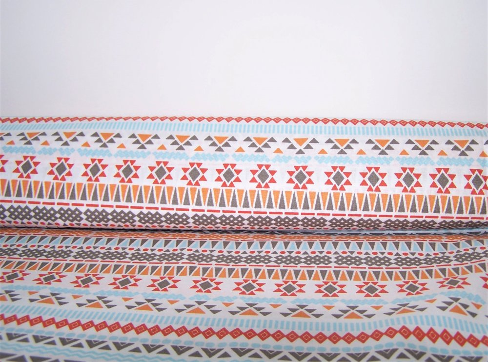 Tissu coton blanc imprimé géométrique, 50x48 cm
