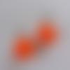 """Boucles d' oreilles """"nounours  orange"""" en pâte fimo"""