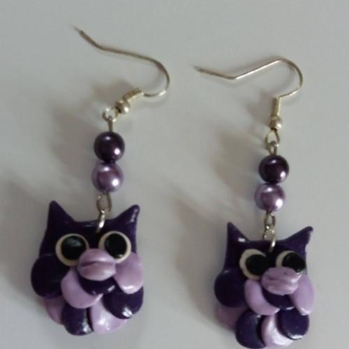 """Boucles d' oreilles """"chouettes violettes"""" en pâte fimo"""