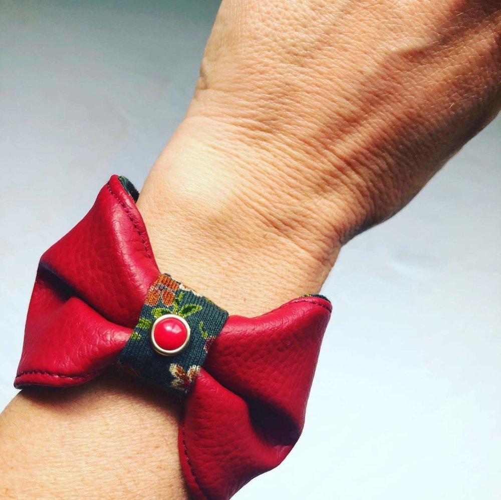 Bracelet noeud bordeaux et vert