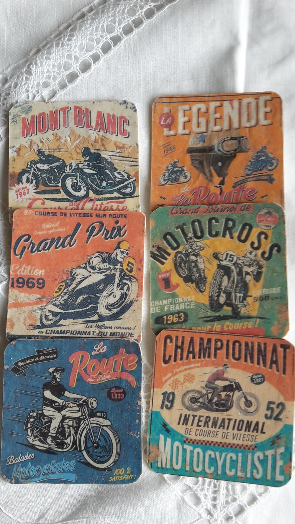 Fêtes des pères dessous de verre thème la moto