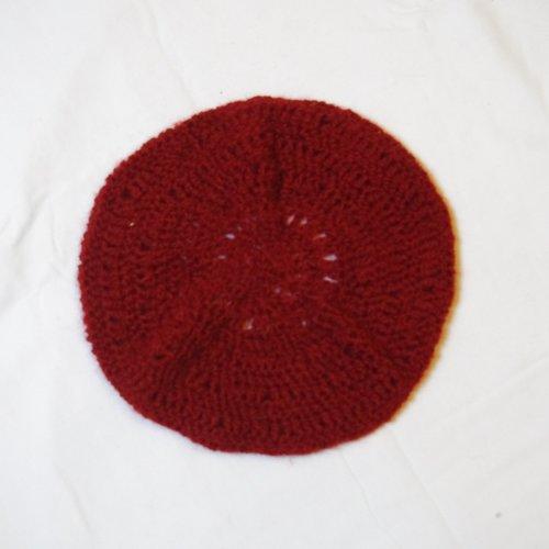 Grand béret au crochet - rouge brique - total récup'