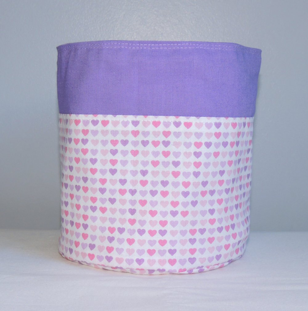Corbeille tissu hibou lilas