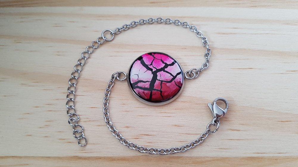 Bracelet en argile polymère (fimo) et résine ajustable
