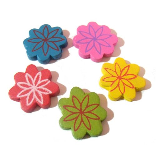 5 perles bois peint, fleurs mandalas