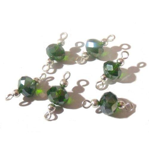 6 connecteurs intercalaires perles à facettes vertes