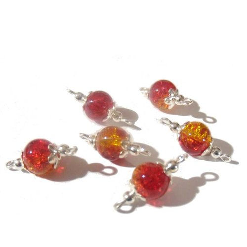 6 connecteurs intercalaires perles rouges, jaunes, orange verre craquelé