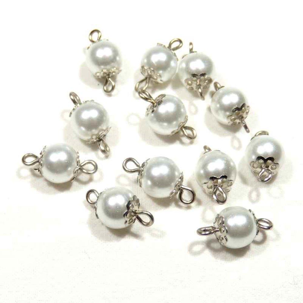 12 Connecteurs perles blanches nacrées