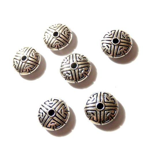 6 perles intercalaires rondes plates gravées
