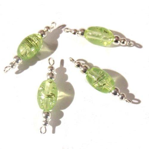 """4 intercalaires en perles de verre """"olives"""", couleur verte"""