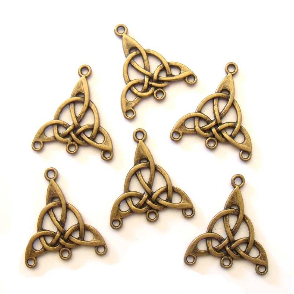 6 Connecteurs Triskell couleur bronze