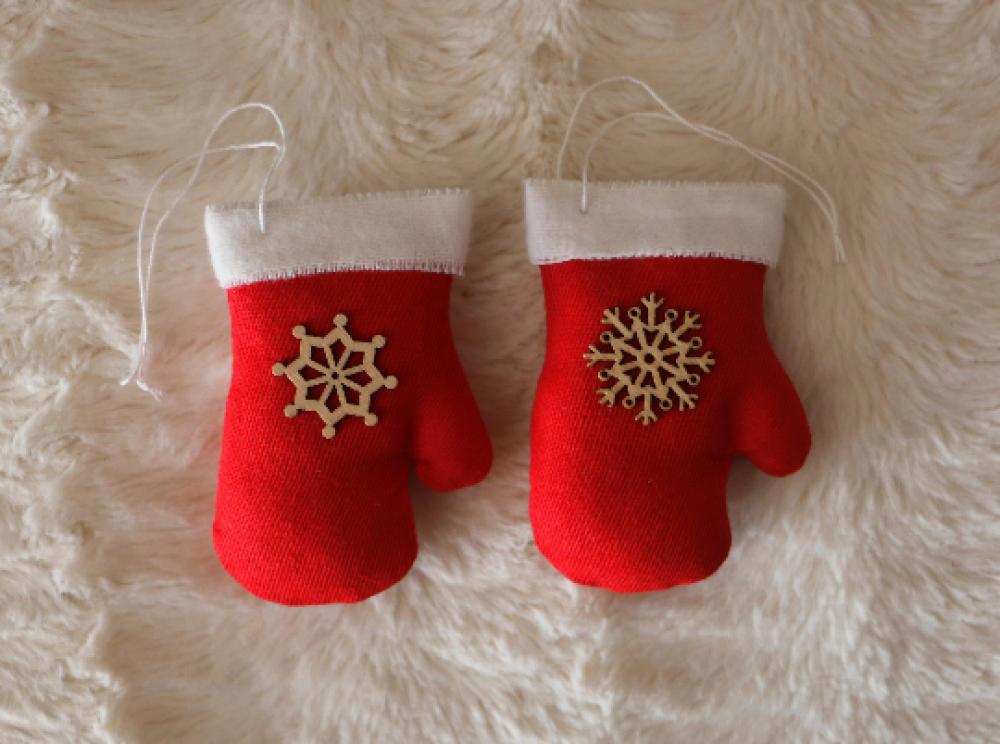 décoration de noël lot de 2 gants en tissu a suspendre