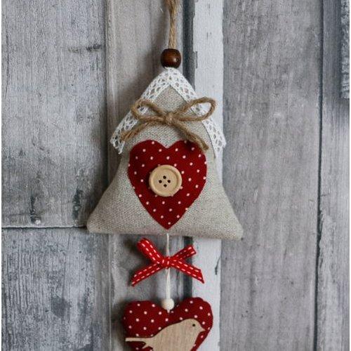 Maison en tissu, décoration oiseau en bois