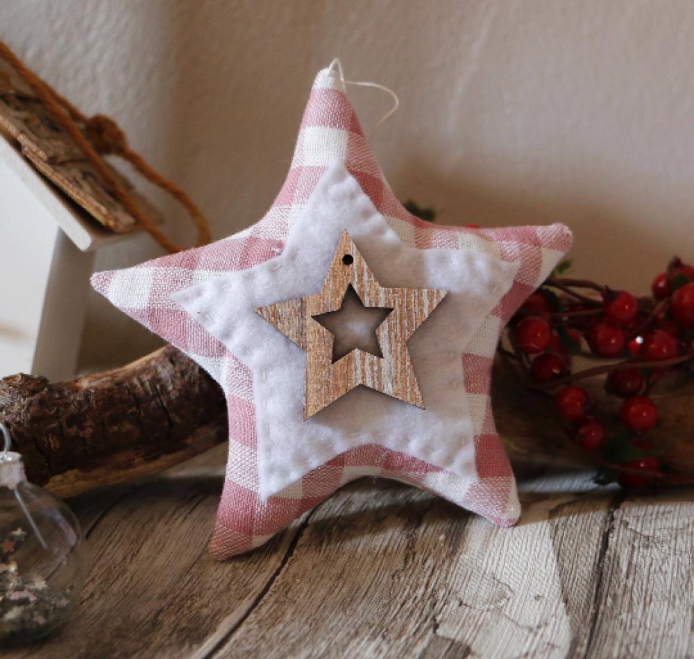 Décoration de noël étoile a suspendre en tissu
