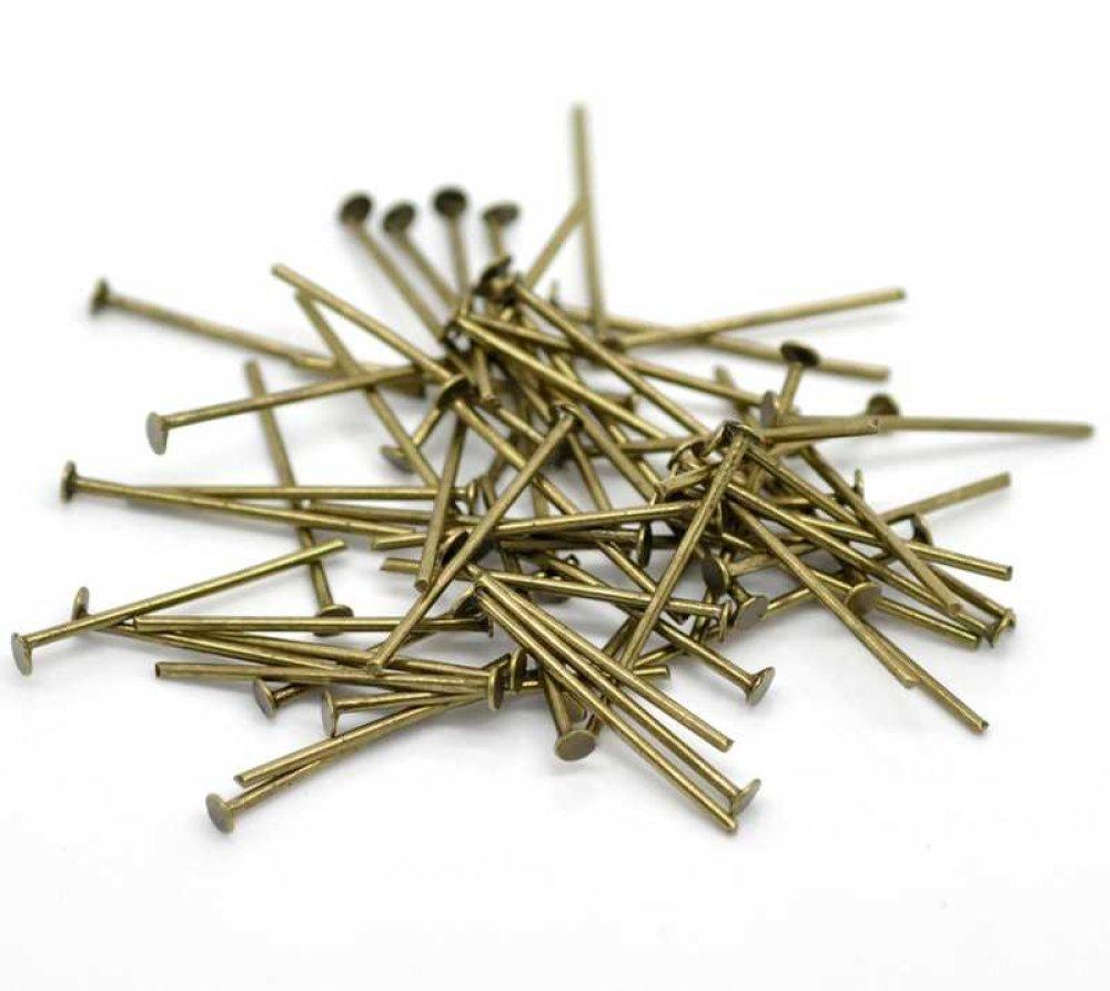 100 Clous à tête plate - Tiges à tête plate - Clous-tiges - 20mm - bronzé ancien (CTTP20BA)