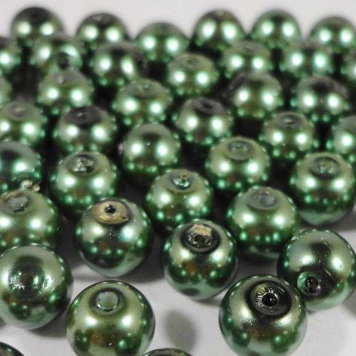 50 perles nacrées en verre - 4mm - vert sauge (pnv04vs)