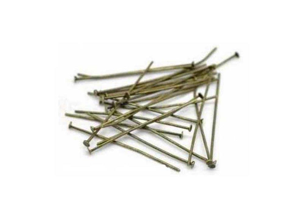 100 Clous à tête plate - Tiges à tête plate - Clous-tiges - 30mm - bronzé ancien (CTTP30BA)